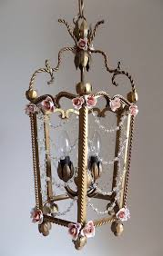 antique lantern italian tole vintage 3 lights with crystals swags for creative vintage lantern chandelier