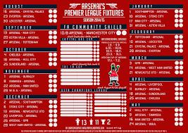 Premier League Wall Chart Fixtures Wall Chart 1280 X 905 Arsenalofkas Graphic Arsenal