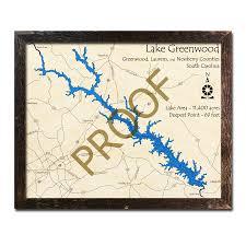 Lake Greenwood Sc 3d Wood Topo Map