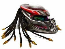 predator custom made motorcycle helmet matt black airbrush biker