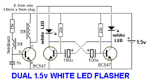 1 200 transistor circuits this circuit alternately flashes two white leds on a 1 5v supply and produces a very bright flash the circuit produces a voltage of about 25v when the