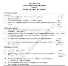 cbse class 9 mathematics linear
