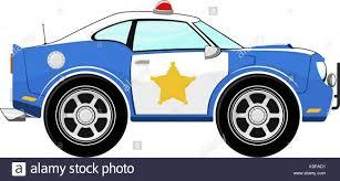 Lustige Blaue Polizei Auto Karikatur Auf Weißem Hintergrund Vektor