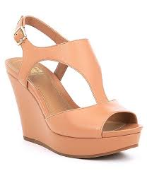 Gb Role Model Leather T Strap Wedges
