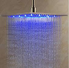 votamuta led color changing 12 nickel brushed bathroom rain shower head top over sprayer stainless steel wall s furniture decor