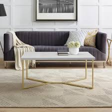 y leg coffee table in white faux marble gold