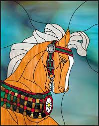 flower carousel horse head flower carousel horse head stained glass pattern