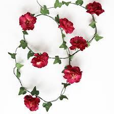 Paper Flower Garland Wild Paper Rose Ivy Garland Red Pink Or Ivory Roses