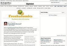 freakonomics screen shot of freakonomics blog