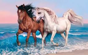 beautiful horses running wallpaper. Beautiful Horse Couple Running On The Beach Art Painting Wallpaper With Horses