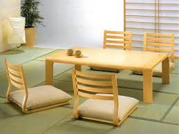 dining room furniture charming asian. Delighful Dining Stylish Rectangle Pine Japanese Dining Table With Four Wooden Rail Backseat  Floor Chairs Ideas In White Asian Room Furnishing Decors Inside Furniture Charming