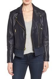 via spiga mixed media leather moto jacket regular petite