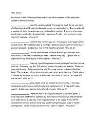 Worksheets - The endocrine system