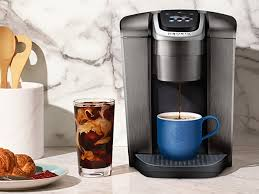 Keurig now offers a dedicated iced coffee button on its elite model coffee maker that brews a smaller, stronger cup of hot coffee so that the flavor doesn't get ice cubes made with coffee instead of water will take your iced coffee to a whole new level. Keurig K Elite Coffee Maker Review Great Iced Coffee And More