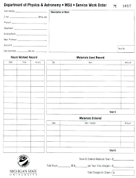Work Request Template Excel Maintenance Order Form Co Doc Example