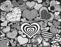 Small Picture Doodle Art Hearts Adult ColouringHeartsLove Zentangles