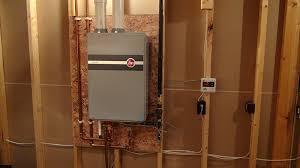 rheem indoor tankless water heater. water heating installations. rheem condensing tankless indoor heater l