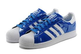 adidas superstar ii clover shoes shell head superstar glossy patent leather blue d65603 wo