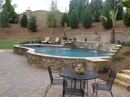 backyard raised patio ideas. Raised Pool With Waterfalls Backyard Patio Ideas E