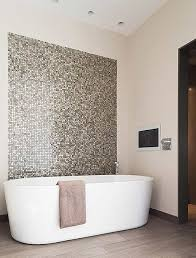 bath bathroom mosaic feature wall white light expansive wood
