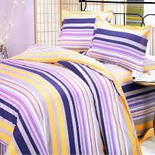 purple yellow stripes 100 cotton 4pc duvet cover set queen size