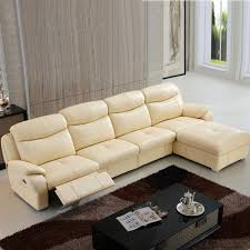 beige manual recliner sectional sofa in leather with right facing chaise lh 7018l 1 decoraport canada