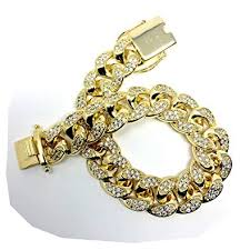 gold plated all iced out simulated diamond cut miami cuban link chain bracelet for men real