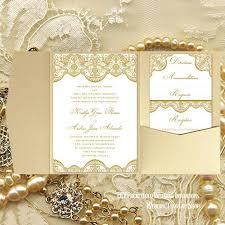 Pocket Fold Wedding Invitations Vintage Lace 2 Gold 5x7 Wedding