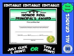 Principal Award Certificate Principals Award Honor Roll Certificate Schoolhouse Editable