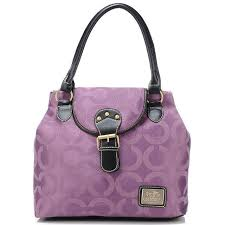 Coach Buckle In Signature Medium Purple Satchels BNU