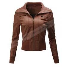 womens biker faux leather brown jacket zoom womens