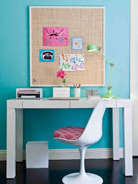 Robin Egg Blue Bedroom A White Desk And Matching Tulip Chair Create A Dedicated Study