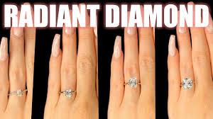 Radiant Shaped Diamond Size Comparison On Hand Finger Engagement Ring Cut 75 Carat 2 Ct 1 3 4 1 5