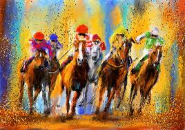 horse racing painting colorful horse racing impressionist paintings by lourry legarde