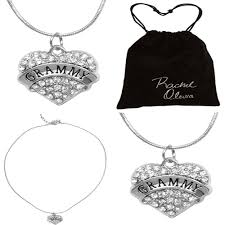 details about grammy necklace engraved gift jewelry crystal adorned heart shaped pendant snake
