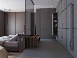 Gallery Of Two Apartments With Sleek Grayscale Interiors With Open Bedroom  Bathroom Design.