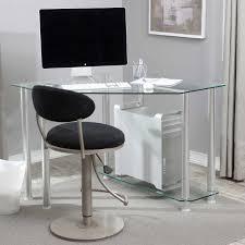 modern clear glass corner computer desk