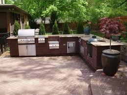 Stone Floor Kitchen Exteriors Modern Outdoor Kitchen Decor With Round Laminated