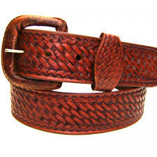 modestone embossed basket weave leather belt 1 5 width 1 8 thick brown