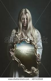 Woman Holding Magical Mirror Imagination Surreal Stock Photo