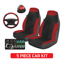 auto drive universal 5 piece seat cover and steering wheel kit