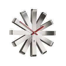 ribbon wall clock 12in steel