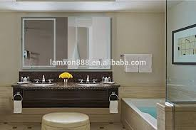 Uae Luxury Led Illuminated Wall Mounted Bath Mirror With Clock And