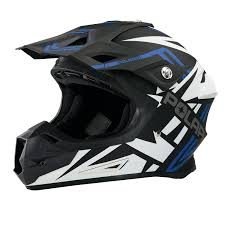 Force Adult Moto Helmet With Removable Mouthpiece Blue