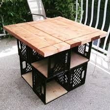 milk crates patio table with storage diy table bois