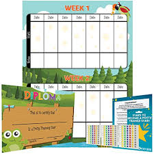 Potty Training Chart Reward Sticker Chart Nature Forest Theme Marks Behavior Progress Motivational Toilet Training For Toddlers And Children