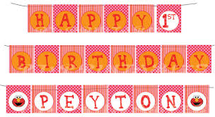 custom happy birthday banner happy birthday girly elmo themed banner with name custom