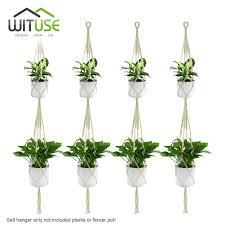 Online Shop WITUSE 4Pcs 2-deck Handmade Cotton Pot Holder Simple/Macrame  Rope hanging Plant Hangers Flower Pot Hooks Garden Hanging Decors    Aliexpress ...