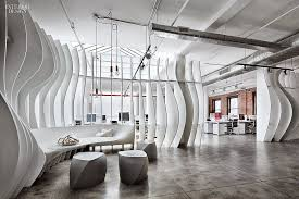 Curves new york Interior An Initially Empty Industrial Space Was Transformed To An Amiable Modern Office For Digital Marketing Firm In Newyork The Designer Piret Johanson The New York Times Livin Spaces Subtle Curves New York Office Interior Design By