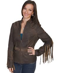 scully women s fringe leather jacket brown hi res